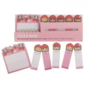Mini blocs-notes post it « Fraises » Rex International