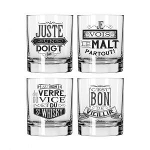 Coffret 4 verres whisky Natives déco