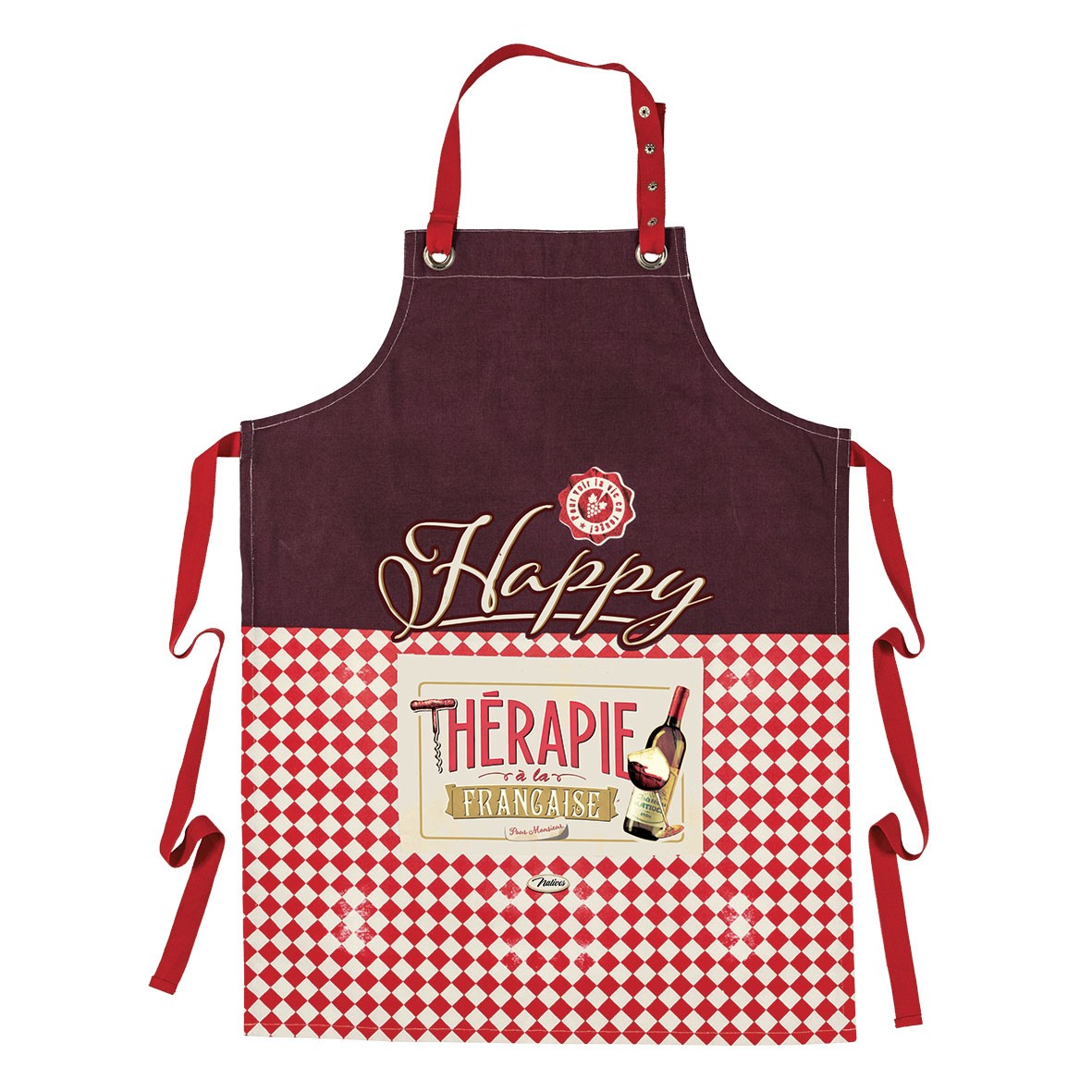 Tablier de cuisine happy thérapie vin Natives