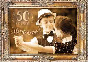 Carte postale double 50 ans d'amour Art Grafik