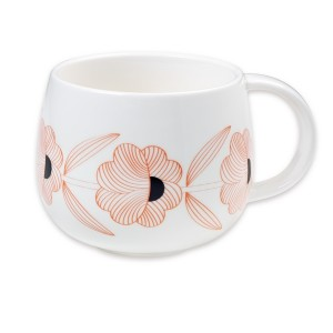 Tasse porcelaine moon fleurs rouges Mr and Mrs Clynk