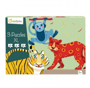 3 puzzles XL animaux de la jungle Avenue Mandarine