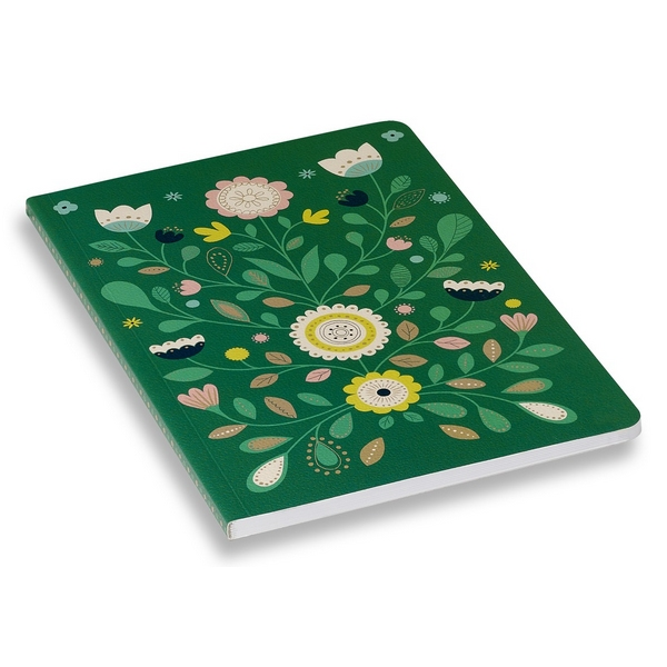 Cahier folk vert pages blanches Mini Labo
