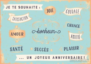 Carte postale satisfaction joie courage Art Grafik