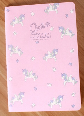 Cahier licorne fond rose Kawaii culture