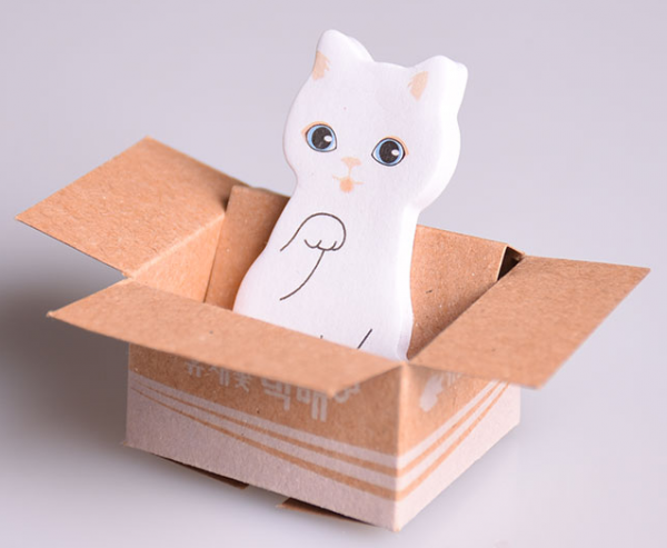 Mini post it chat blanc carton kawaii culture