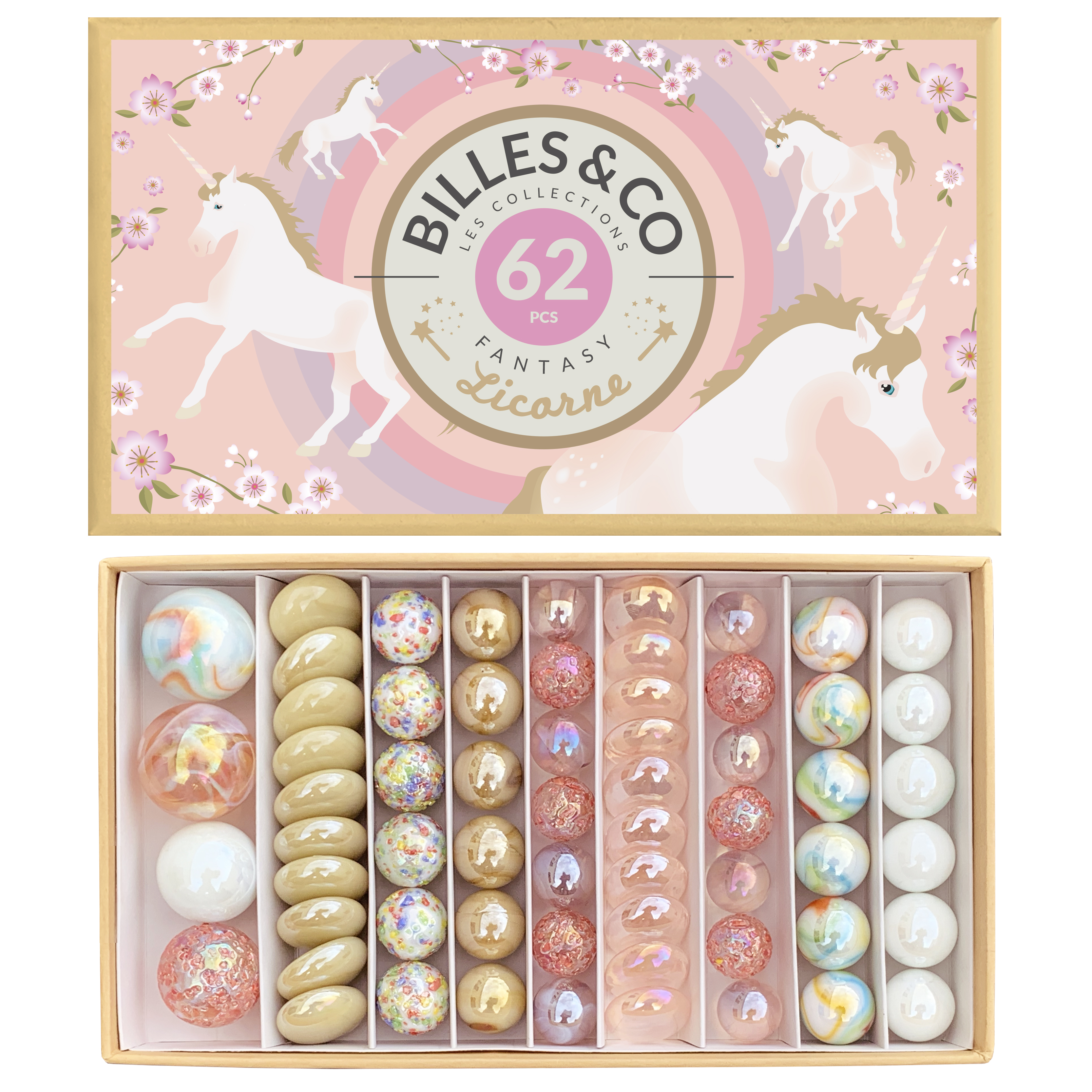Coffret de billes licorne Billes and Co