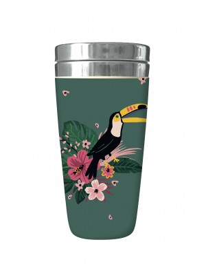 Mug isotherme en bambou jungle toucan Kiub