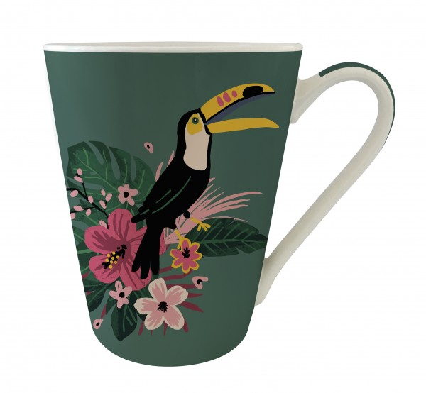 Mug conique en porcelaine jungle toucan Kiub