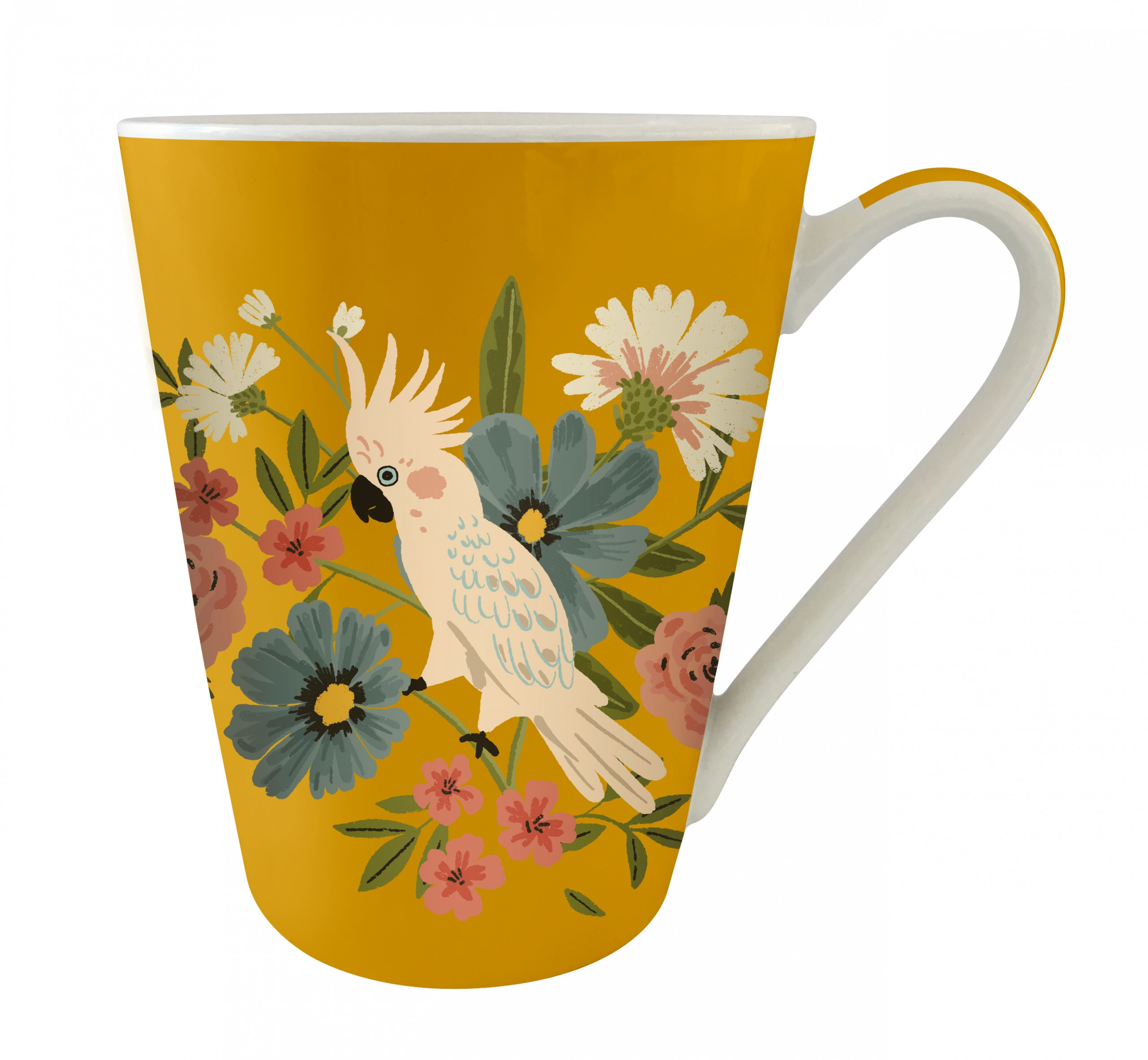 Mug conique en porcelaine jungle cacatoès Kiub