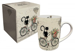 Mug en porcelaine chat vélo bug art Kiub